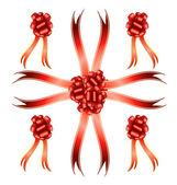 Big set of red gift bows — Stock Photo