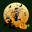 Halloween house party full moon — Stockfoto