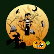 Halloween house party full moon — Stok Fotoğraf #34145233