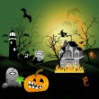 Halloween party house full moon — Foto Stock