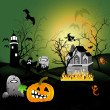 Foto de Stock  : Halloween house party full moon
