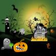 Halloween house party full moon — Stock Photo