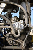 Multiple Hydraulic Hoses of concrete mixer — Stock Photo