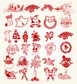 Collection Stylized Christmas decoration gifts — Stock Photo