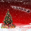 Santa Claus & Christmas tree on red background  — ストック写真