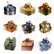 Set of colorful gift boxes — Stock Photo