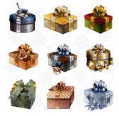 Ensemble de coffrets cadeaux colorés — Photo