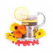 Tea cup with calendula flowers — Stock Photo