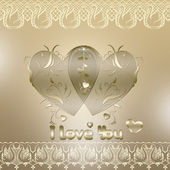 Valentine card with hearts and lace on golden background — Stock Photo