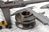 Group of large and small calipers — Stock Photo