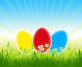 Three colorful easter eggs — Stock Photo