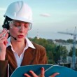 Stock Video: Female construction engineer