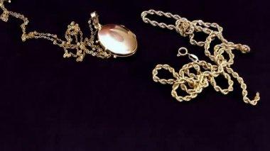 Jewelry on black velvet — Stock Video
