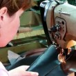 Stock Video: Quilting leather