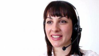 Female telephonist — Stock Video