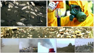 Environmental pollution in various forms-split screen — Stock Video