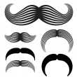 Stock Vector: Mustache vintage black icons
