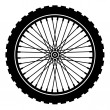 Bike wheel black silhouette — Stock Vector