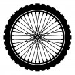 Bike wheel black silhouette - Stock Vector