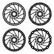 Bike brake disc black silhouette — Stock Vector