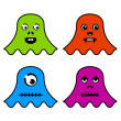 Cute ghost monsters - Stock Vector