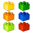 3d children plastic bricks toy - Stock Vector