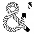 Black rope ampersand symbol - Stock Vector