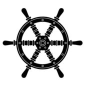 Nautical boat steering wheel silhouette — Stock Vector
