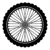 Bike wheel black silhouette — Vecteur