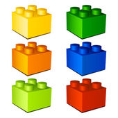 3d children plastic bricks toy — Stock Vector
