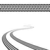 Winding trace of the terrain tyres — Stockvector