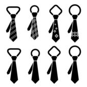 Cravatta nera simboli — Vettoriale Stock