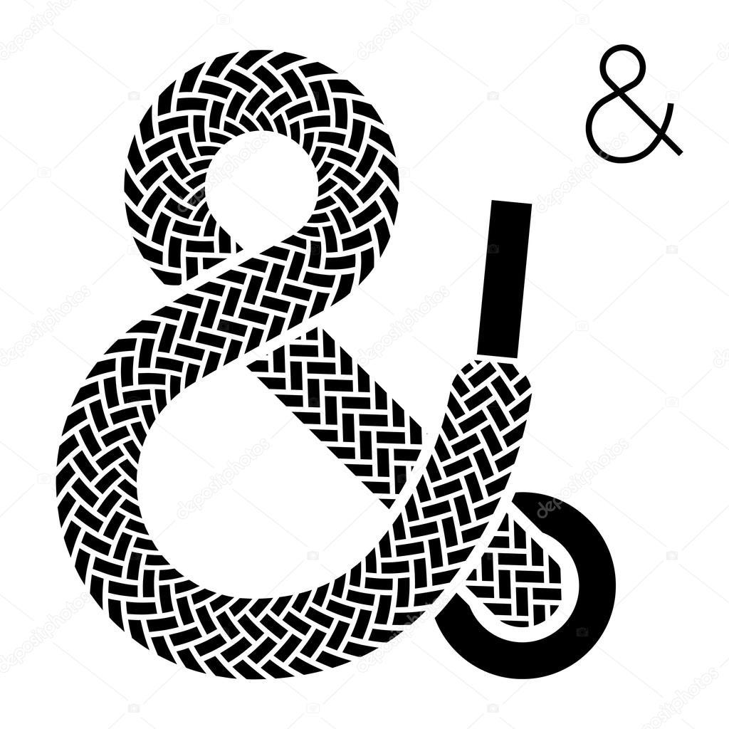 Shoe lace ampersand symbol - Stock Illustration