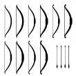 Medieval bow weapon black symbols - Imagens vectoriais em stock