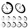 Stock Vector: Round black timer icons