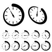 Okrągły czarny zegar ikony — Wektor stockowy