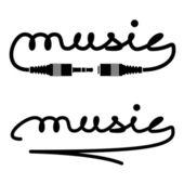 Jack steckverbinder musik kalligraphie — Stockvektor