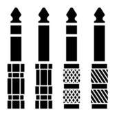 音频插孔连接器黑色符号 — 图库矢量图片