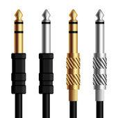 Audio jack connector silver gold — Stock Vector