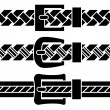 Stock Vector: Buckle braided belt black symbols