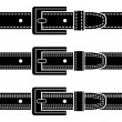 Stock Vector: Buckle quilted belt black symbols