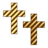 Golden striped christian cross — Stock Vector