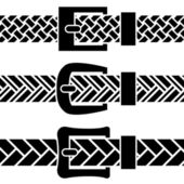 Buckle braided belt black symbols — Stock Vector