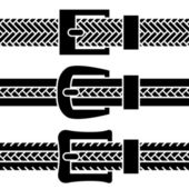Buckle braided belt black symbols — Stockvector