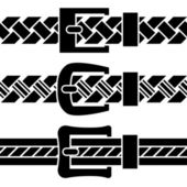 Buckle braided belt black symbols — Vector de stock