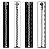 Zipper black white symbols — Stock Vector