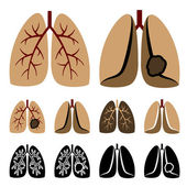 Human lung cancer icons — Stock Vector