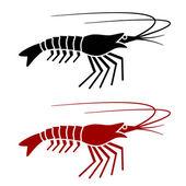 Shrimp silhouette — Stock Vector
