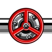 Red industrial valve — Vector de stock