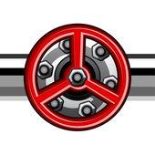 赤の産業用バルブ — ストックベクタ